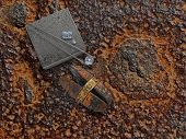 foto of anvil  - old working rusty plate with diamonds - JPG