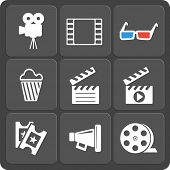 Set of 9 cinema vector web and mobile icons