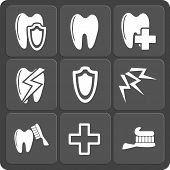 Set of 9 vector dental web and mobile icons