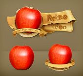 Red apple, retro vector icon