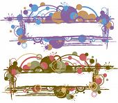 Vector colored abstract frames with paint and blots
