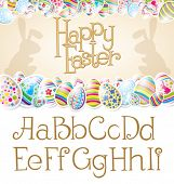 Vector Easter card with alphabet, eggs of different color, rabbit