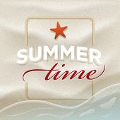 Summer message on beach sand. Vector summer concept design template. Elements are layered separately