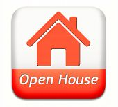 Open house sign banner or placard for renting or buying a new home visit a real estate property mode