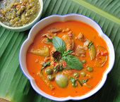 foto of thai cuisine  - pork curry delicious  Thai cuisine  on banana leaves - JPG