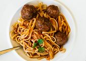 Delicious Pasta With Meatballs, Upper View