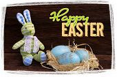 Happy Easter Message Bunny Toy Raffia Nest Duck Eggs