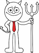 picture of sneaky  - Hand drawn cartoon devil businessman sneaky with pitchfork - JPG