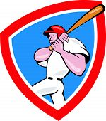 Baseball Player Batting Crest Red Cartoon
