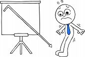 stock photo of going out business sale  - Hand drawn cartoon businessman worried beside standing sales chart with sales going down off chart - JPG