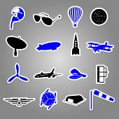aeronautical icons stickers eps10
