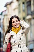 Satisfied Happy Woman Walking Down The Street