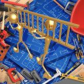 3D Home Improvement Construction Concept Teamwork Ladder