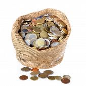 Money Bag With Coins Isolated Over White