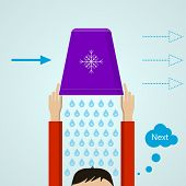 Ice Bucket Challenge. Colored flat vector illustration.