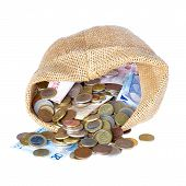 Money Bag With Coins and bank notesIsolated Over White