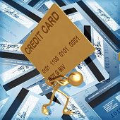3D Credit Card Concept Giant Card Debt Burden