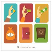 Business rectangular icons with rounded corners