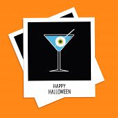 Instant Photo With Martini Glass Blue Cocktail And Eyeball. Halloween Card. Flat Design.