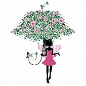 Fairy With Floral Umbrella