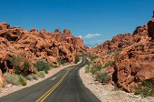 image of valley fire  - Valley of Fire Road main road going through the bright rocks of Valley of Fire State Park located near Las Vegas USA