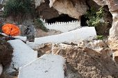 stock photo of ou  - Pak Ou Cave buddhist temple in mountain near Luang Prabang Laos - JPG