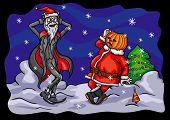 Halloween Pumpkin Jack and Santa Claus