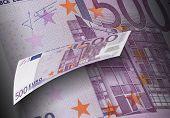 Five Hundred Euro Bill Collage In Purple Tone