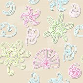 Seamless Summer Patter With Sun, Cloud, Crescent, Starfish, Seashell, Flower.