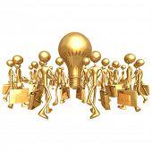 Businessmen Gathering Towards A Big Idea