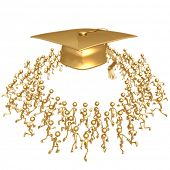 Crowd Running Towards Golden Motarboard Cap Graduation Concept