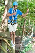 Man Showing Thumbs Up In High Rope Course