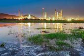 Oil refinery at twilight sky  in chonburi thailand