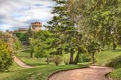 Постер, плакат: Park With Medieval Castle In Volterra Tuscany Italy