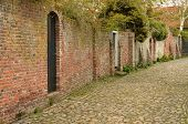 stock photo of veer  - Characteristic medieval lane in the city of Veere in the south east of the Netherlands - JPG