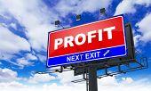 Profit Inscription on Red Billboard.