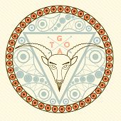 Goat Animal symbol of New Year 2015 round frame emblem with modern pattern greeting card Christmas c