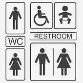 Vector Restroom Icons: Lady, Man, Child And Disability