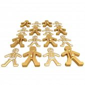 3D gingerbread man, (Gold and Silver) isolated on white