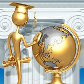 Golden Grad Looking At School Globe Graduation Concept