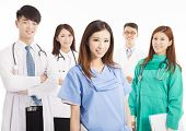 asian Professional Medical Doctor with her Team