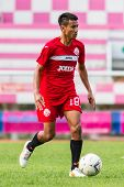 Sisaket Thailand-september 17: Jakkapong Somboon Of Sisaket Fc. In Action During Unofficial Friendly