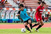 Sisaket Thailand-september 17: Mangkorn Noichomphu Of Sisaket Utd. In Action During Unofficial Frien