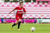 Sisaket Thailand-september 17: Nuttawut Khamrin Of Sisaket Fc. In Action During Unofficial Friendly
