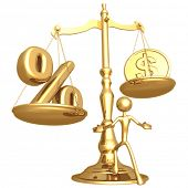 Unbalanced Golden Scale Percentage And Gold Dollar Coin