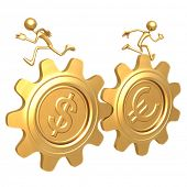 Teamwork Gold Coin Gears Dollar Euro