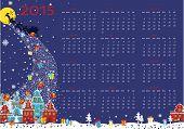 New year 2015 calendar. Santa  coming to City