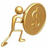 Pushing A Gold Dollar Coin