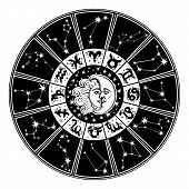 Horoscope circle.Zodiac sign,moon,sun.White,black