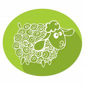 Cartoon outline curly sheep,green oval.Symbol 2015 Year.